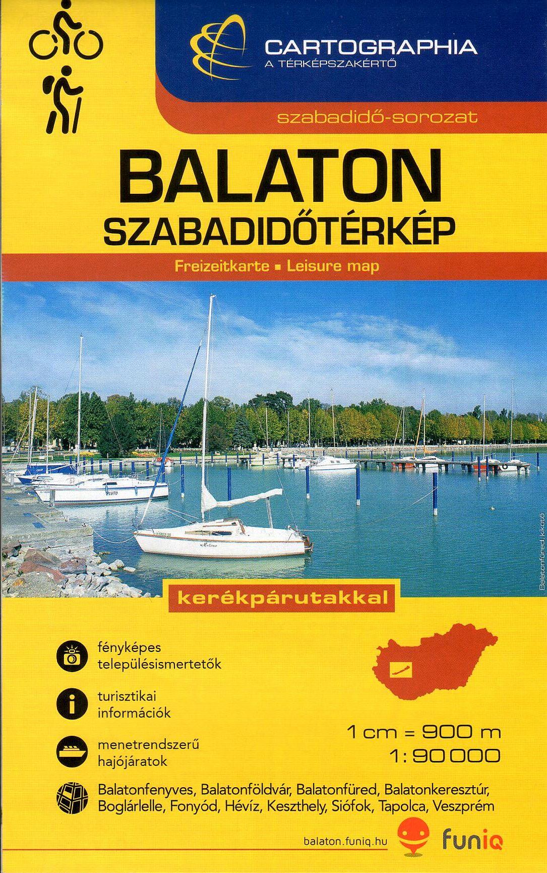 Balaton térkép kerékpáros tematikával, fényképes ismertetőkkel, nagy méretarányú várostérképekkel