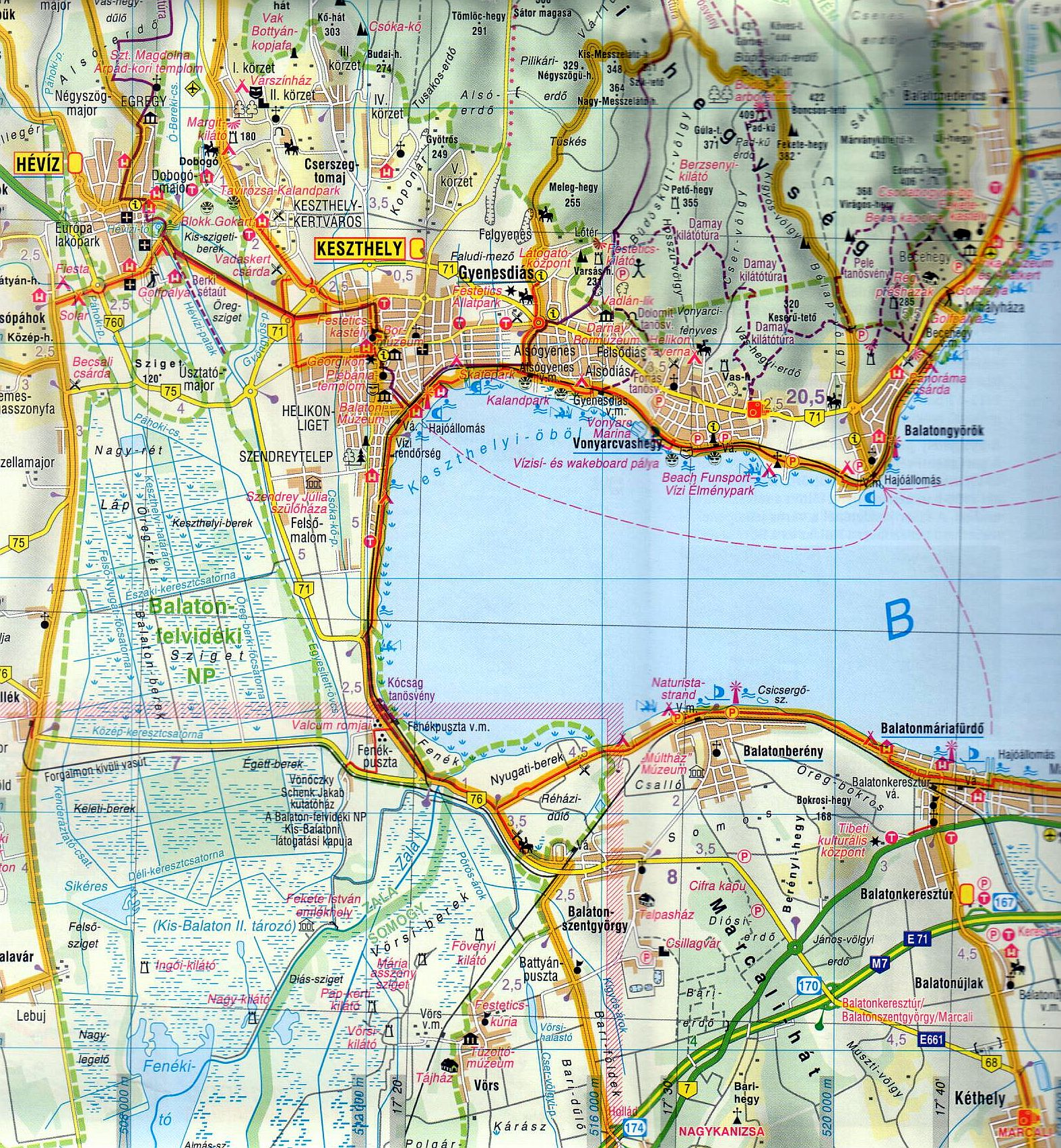 Balaton szabadidőtérkép mintakivágat 1:90.000