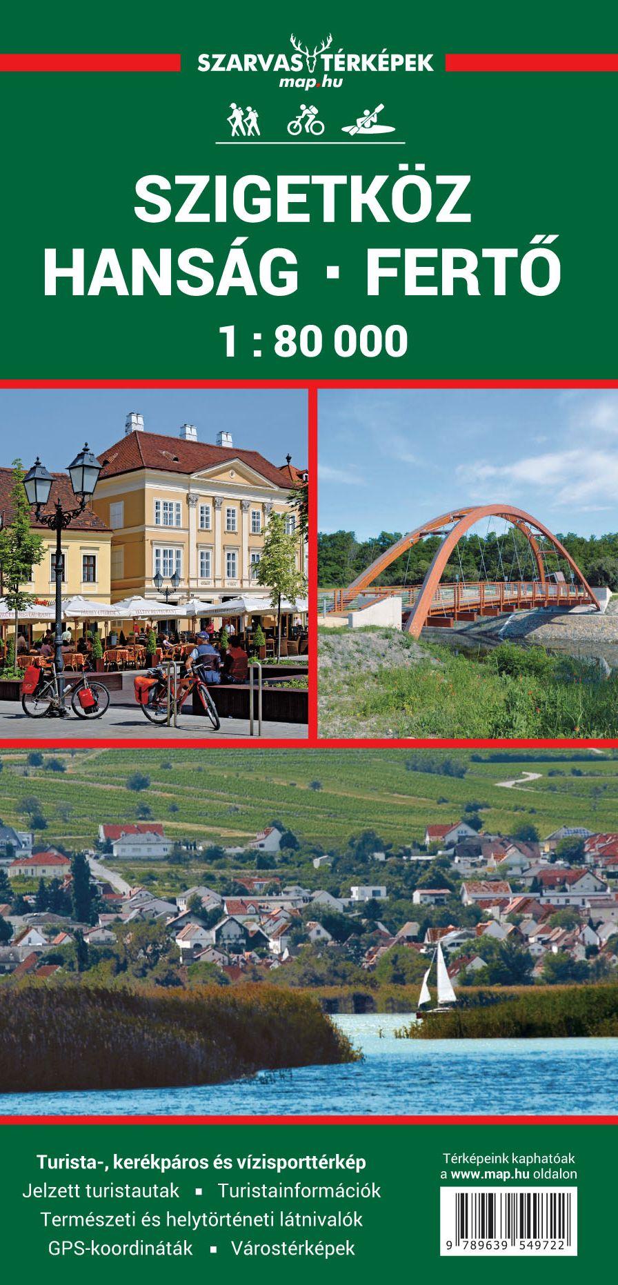 Turista információkkal kiegészített Szigetköz, Hanság, Fertő vizisport és biciklis térkép