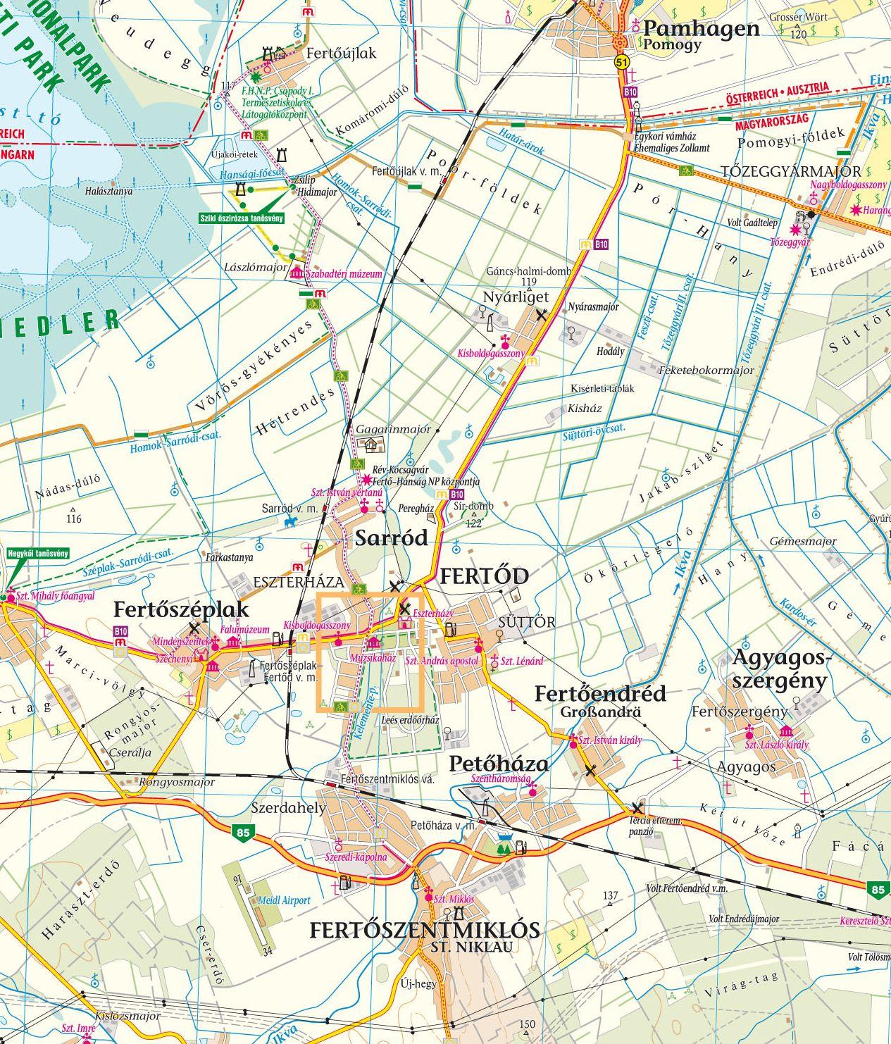 Fertő-Hanság térkép mintakivágat 1:80.000 (Fertőd)