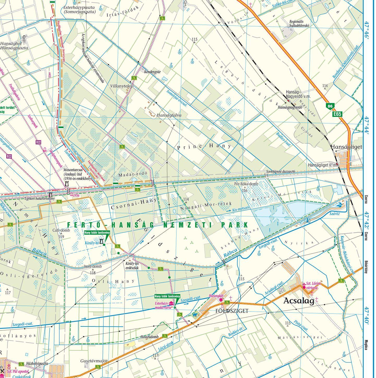 Fertő-Hanság térkép mintakivágat 1:80.000 (Hanság)
