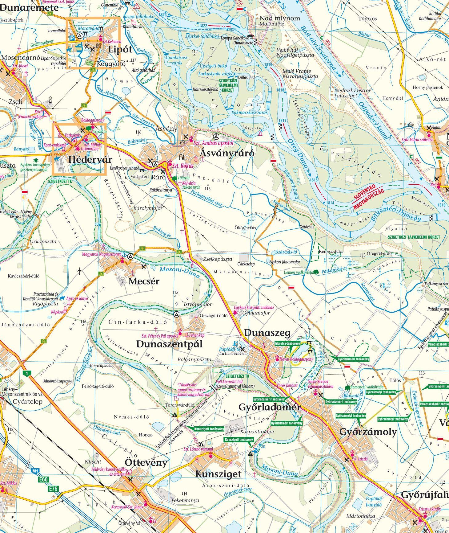 Szigetköz-Hanság térkép mintakivágat 1:80.000 (Lipót)