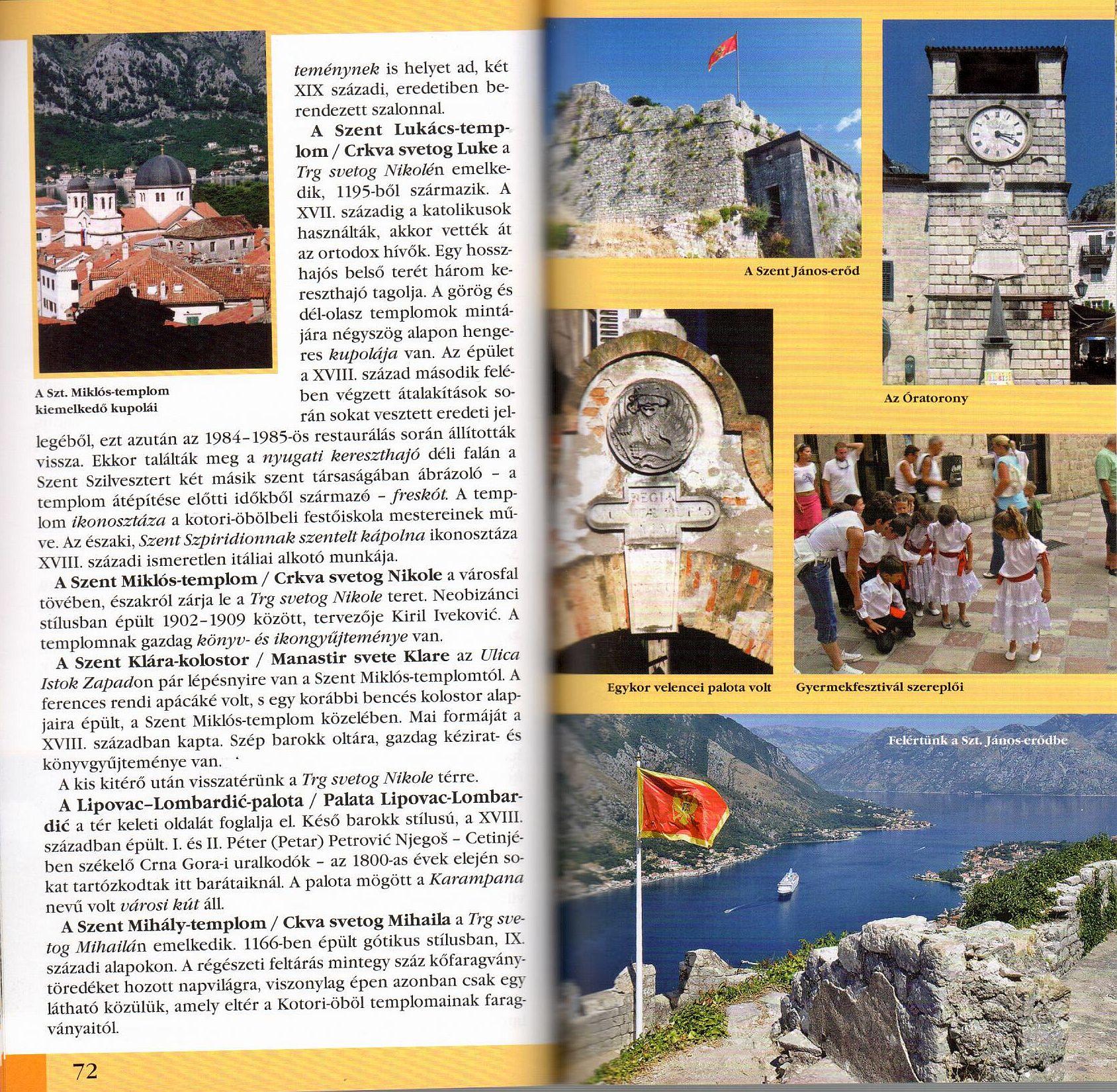 Montenegró útikönyv mintaoldal