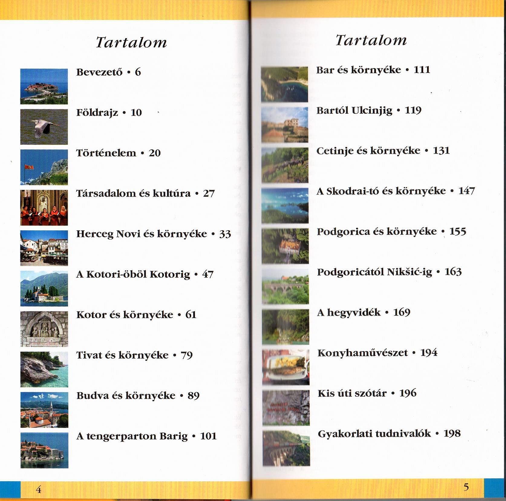 Montenegró útikönyv tartalomjegyzék