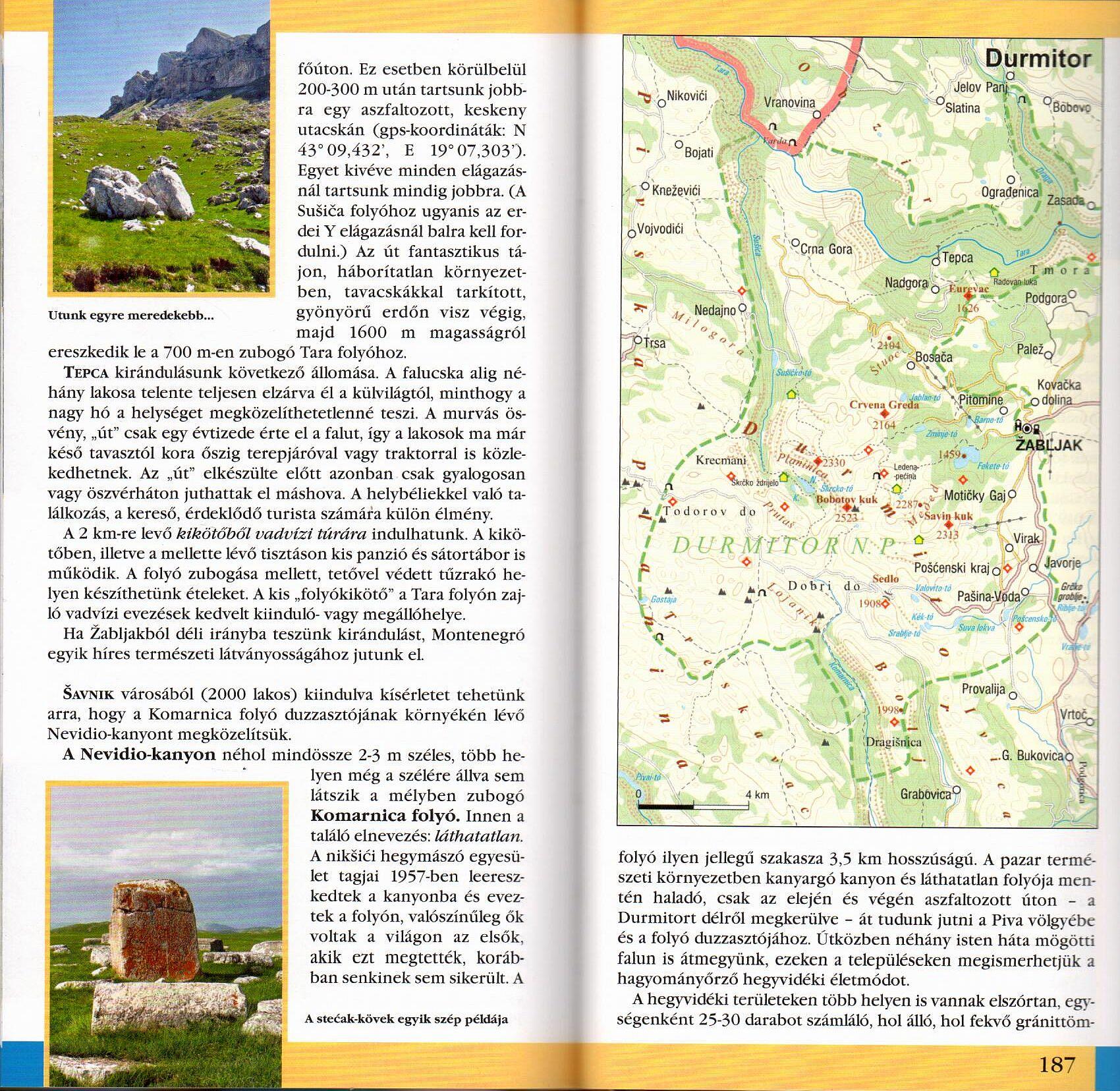 Montenegró útikönyv Durmitor térkép