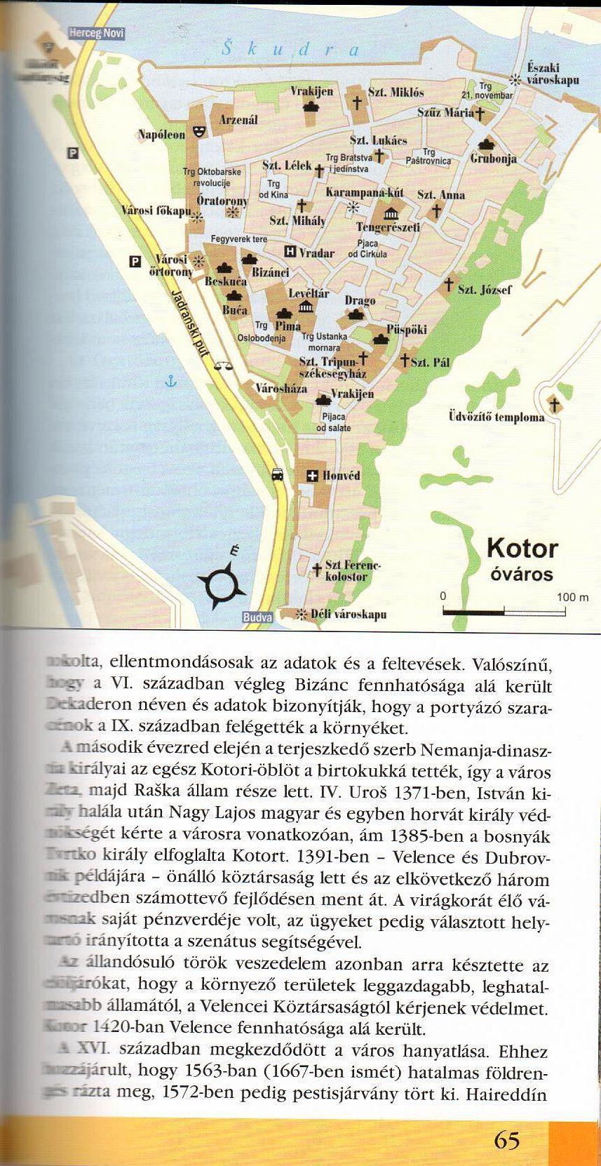 Montenegró útikönyv Kotor térkép