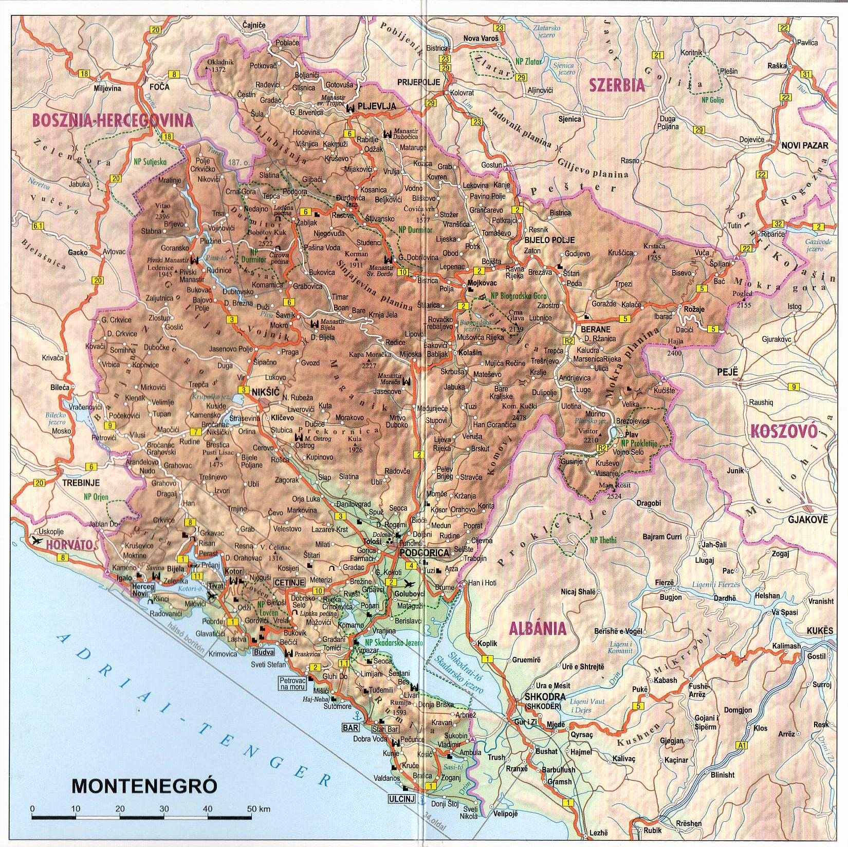 Montenegró térkép