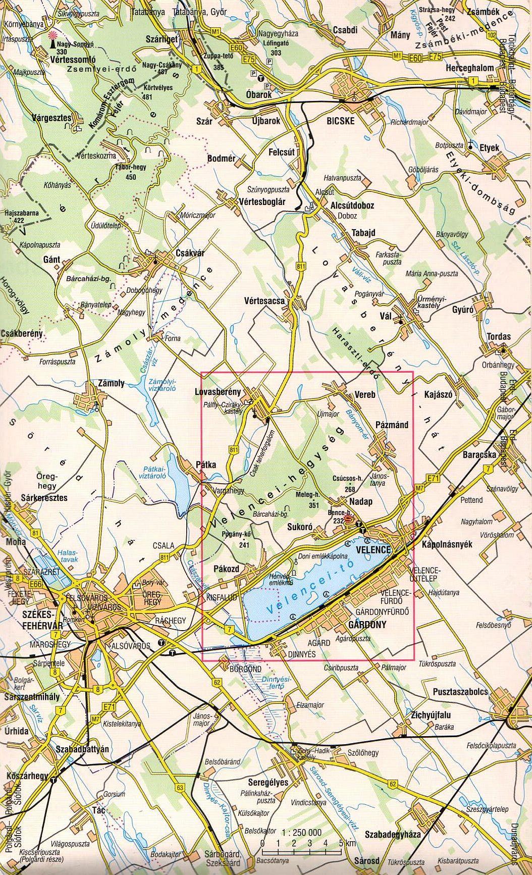 Velencei-tó / Velencei-hg. áttekintő térkép