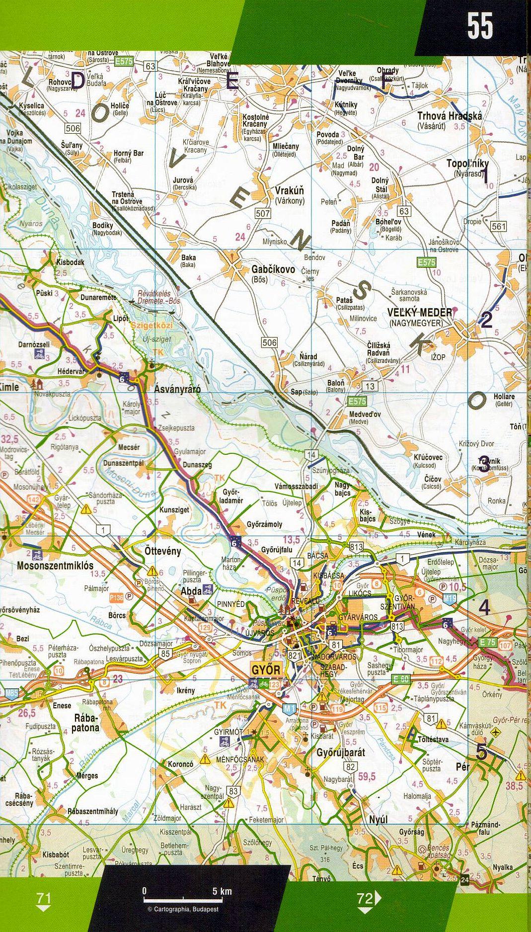 Kerékpáros túratervező: térképminta 2