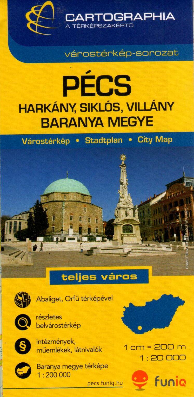 Pécs (utcajegyzékkel és nevezetességekkel), Siklós, Harkány, Villány, Aabliget, Orfű várostérkép + Baranya megye autós-, biciklis térképe