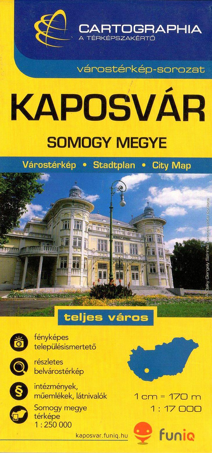 Kaposvár várostérkép nevezetesség- és utcajegyzékkel + Somogy megye autós-, biciklis térképe