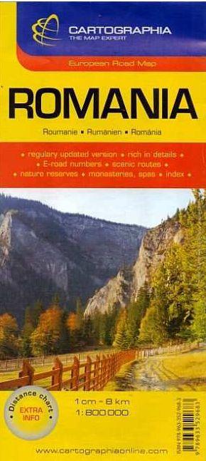 Románia klasszikus kivitelű autótérképe névmutatóval, turista információkkal