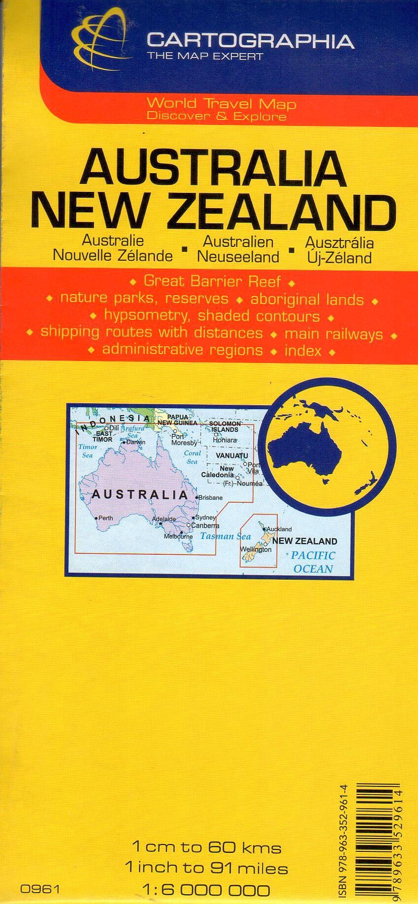 Az Ausztrália / Új-Zéland térkép által lefedett terület