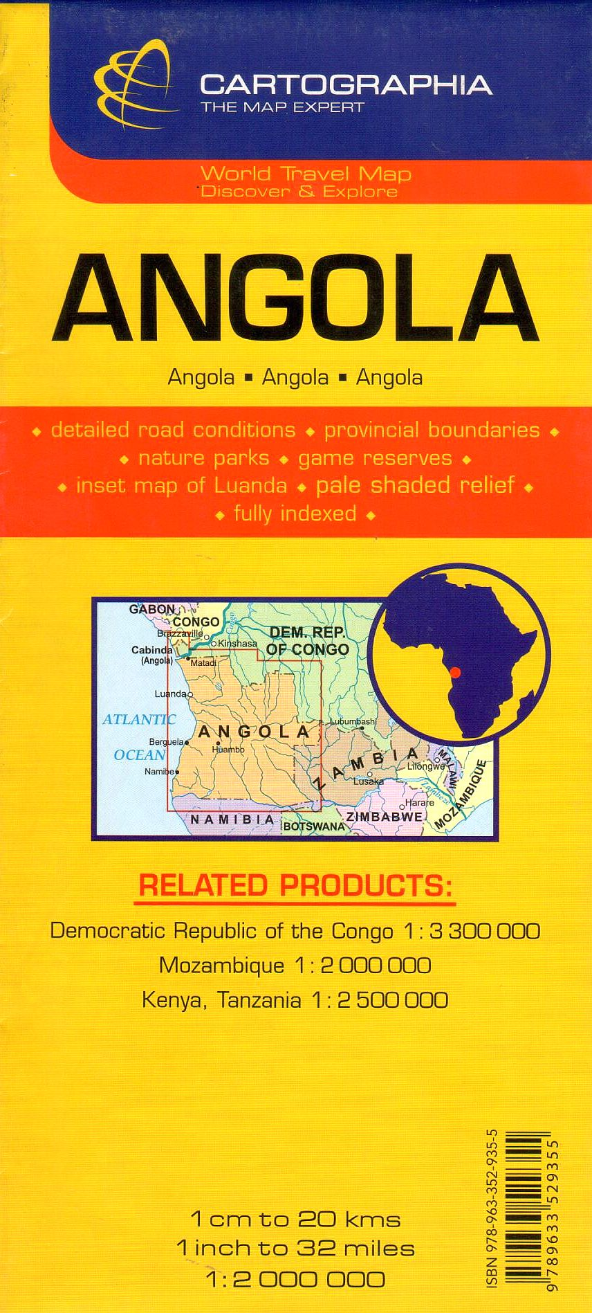 Az Angola térkép által lefedett terület