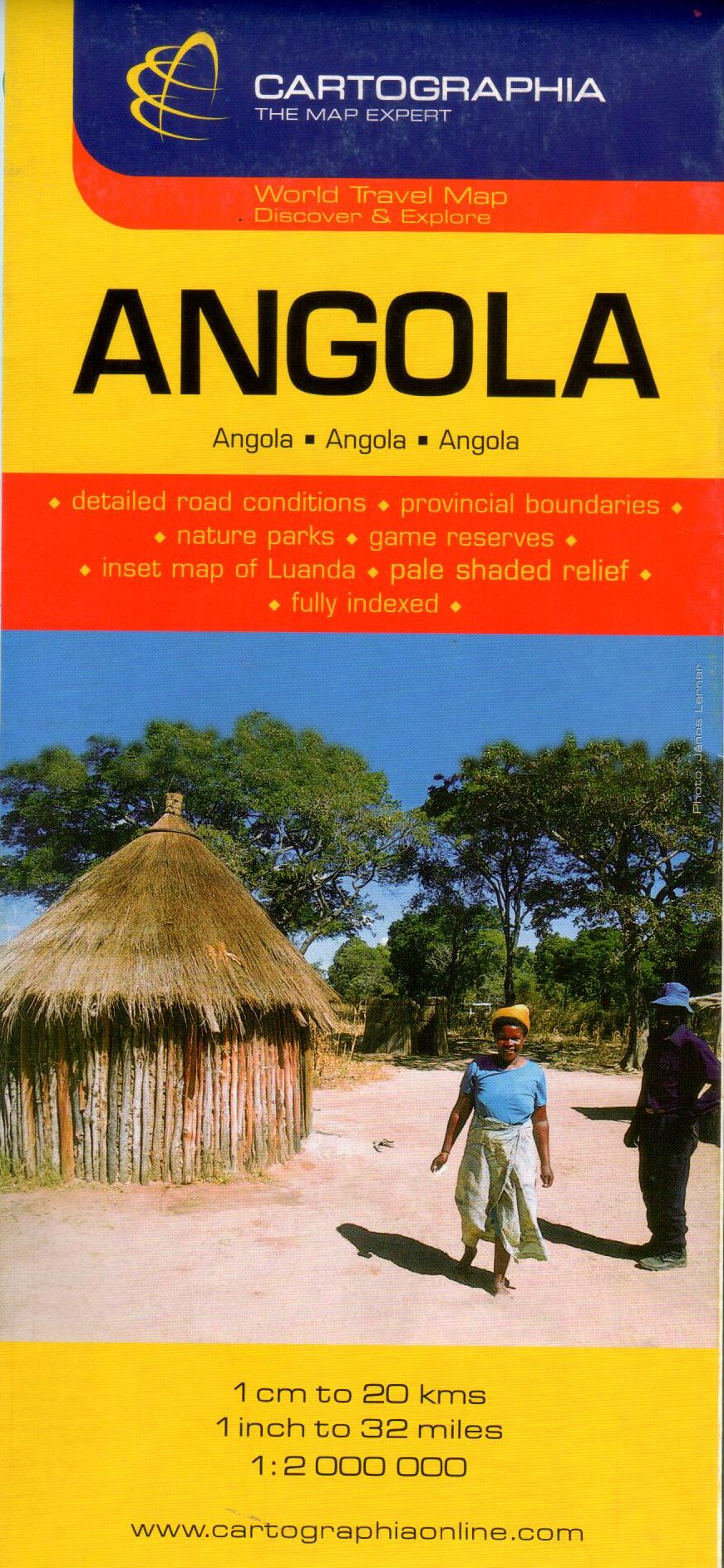 Angola általános földrajzi térképe autós és turista információkkal, névmutatóval, Luanda melléktérképpel