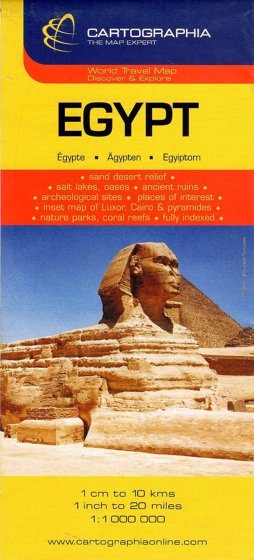 Egyiptom általános földrajzi térképe autós és turista információkkal, névmutatóval. Melléktérképek: Kairó a piramisokkal, Luxor