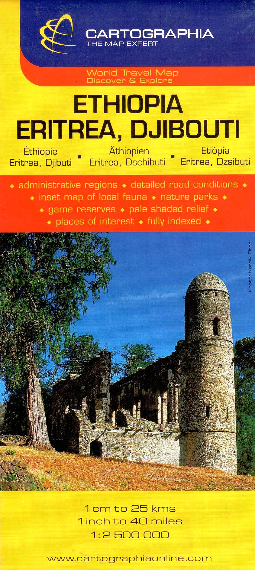 Etiópia, Eritrea, Dzsibuti általános földrajzi térképe autós és turista információkkal, névmutatóval, Addisz Abeba melléktérképpel