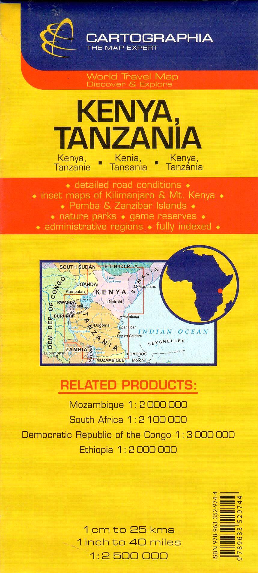 A Kenya, Tanzánia térkép által lefedett terület