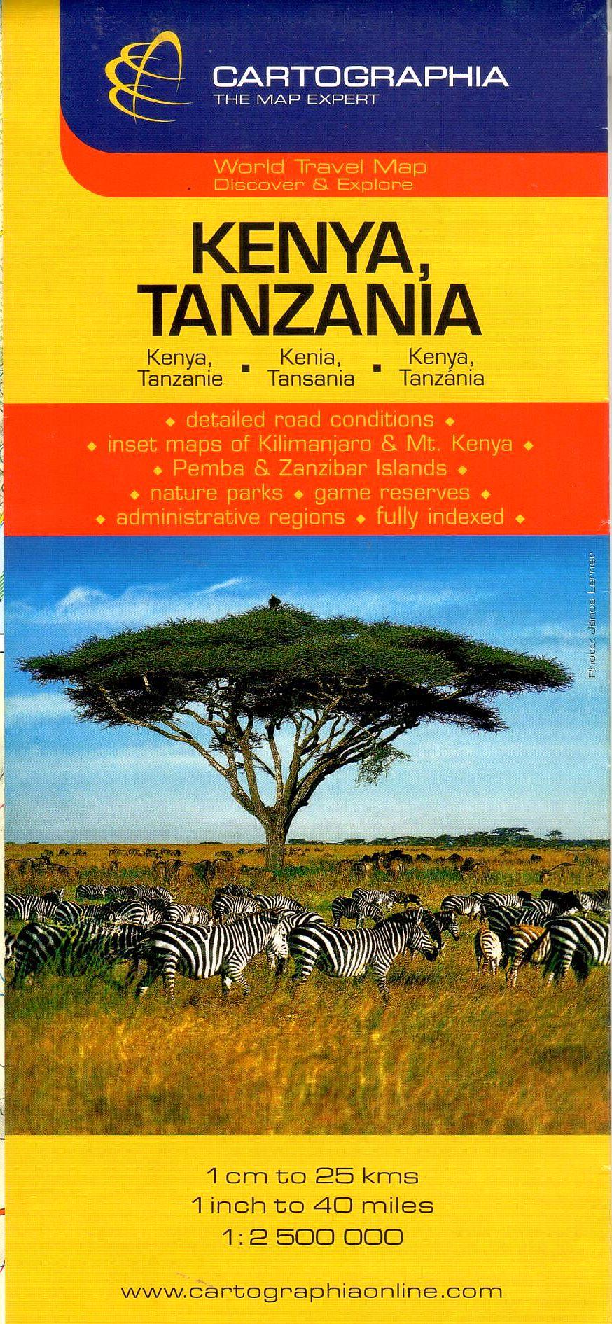 Kenya, Tanzánia általános földrajzi térképe autós és turista információkkal, névmutatóval. Melléktérképek: Kilimandzsáró, Mt. Kenya, Pemba és Zanzibár-sziget, Nairobi, Dar es Salam.