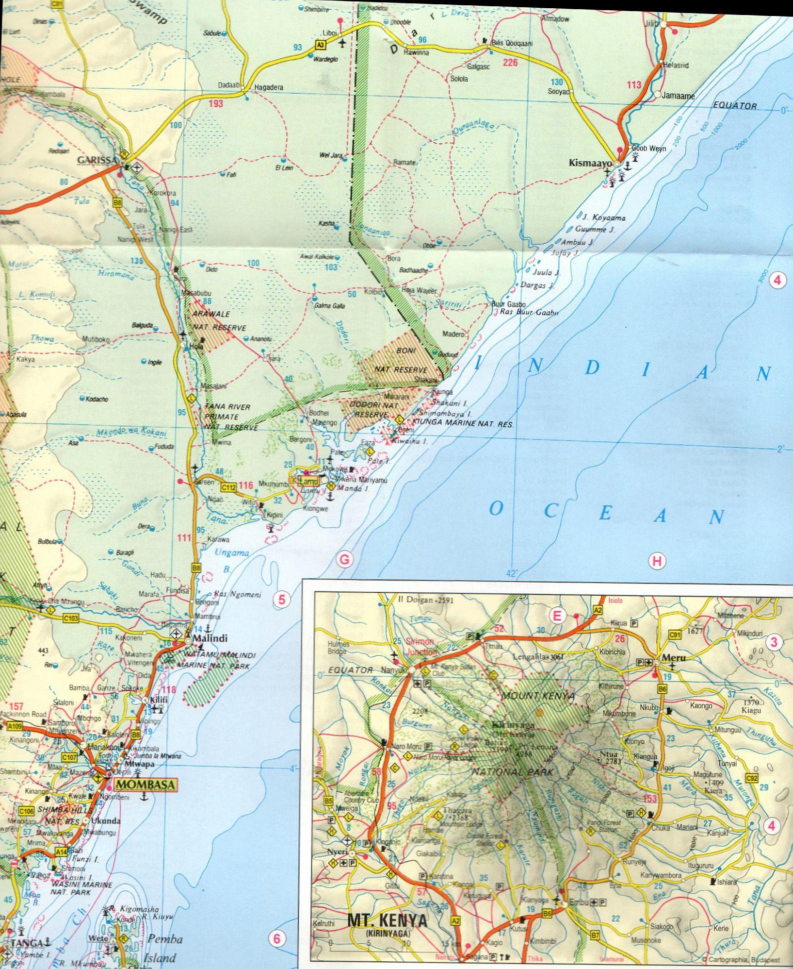 Kenya, Tanzánia térkép mintakivágat