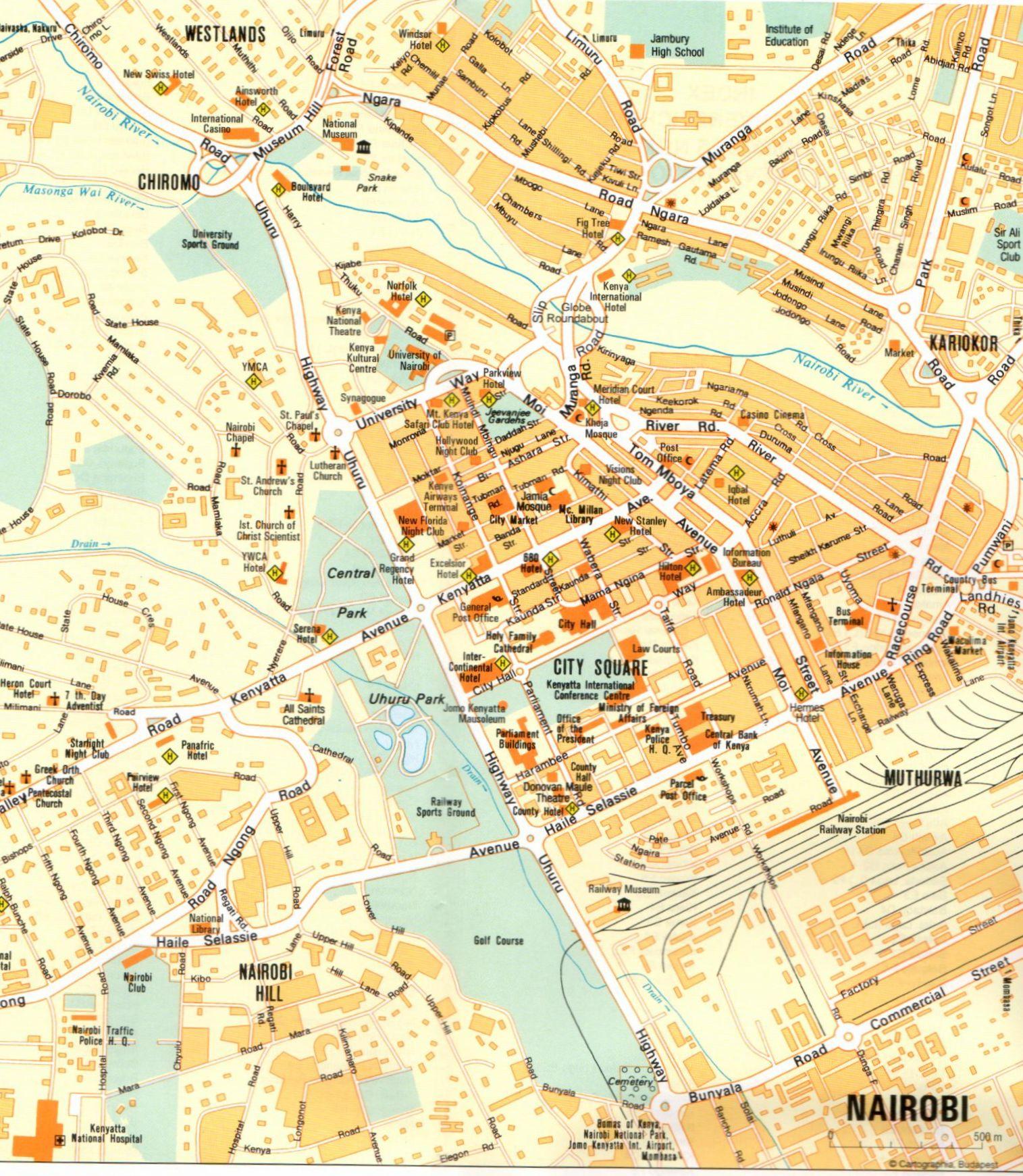 Nairobi várostérkép mintakivágat