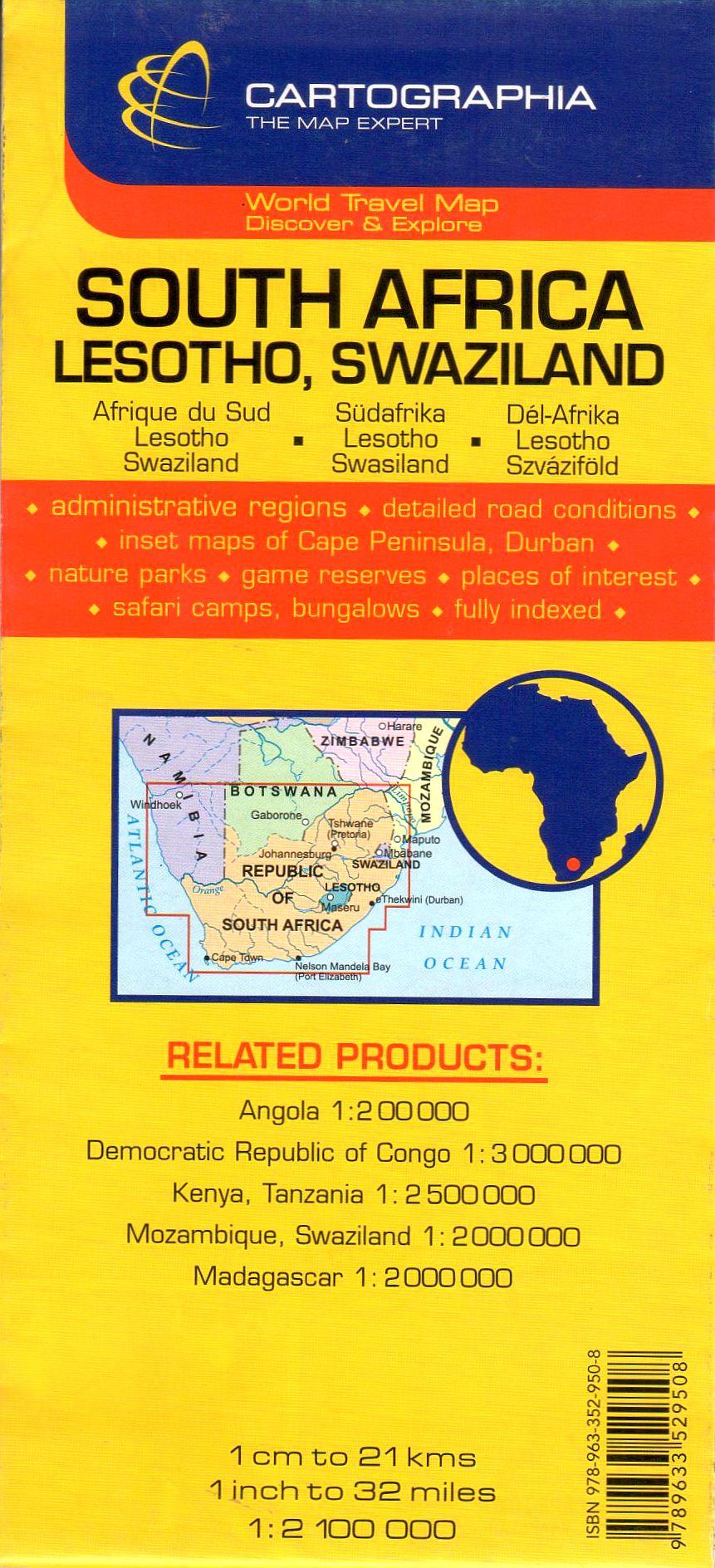 A Dél-Afrika, Lesotho, Zsváziföld térkép által lefedett terület