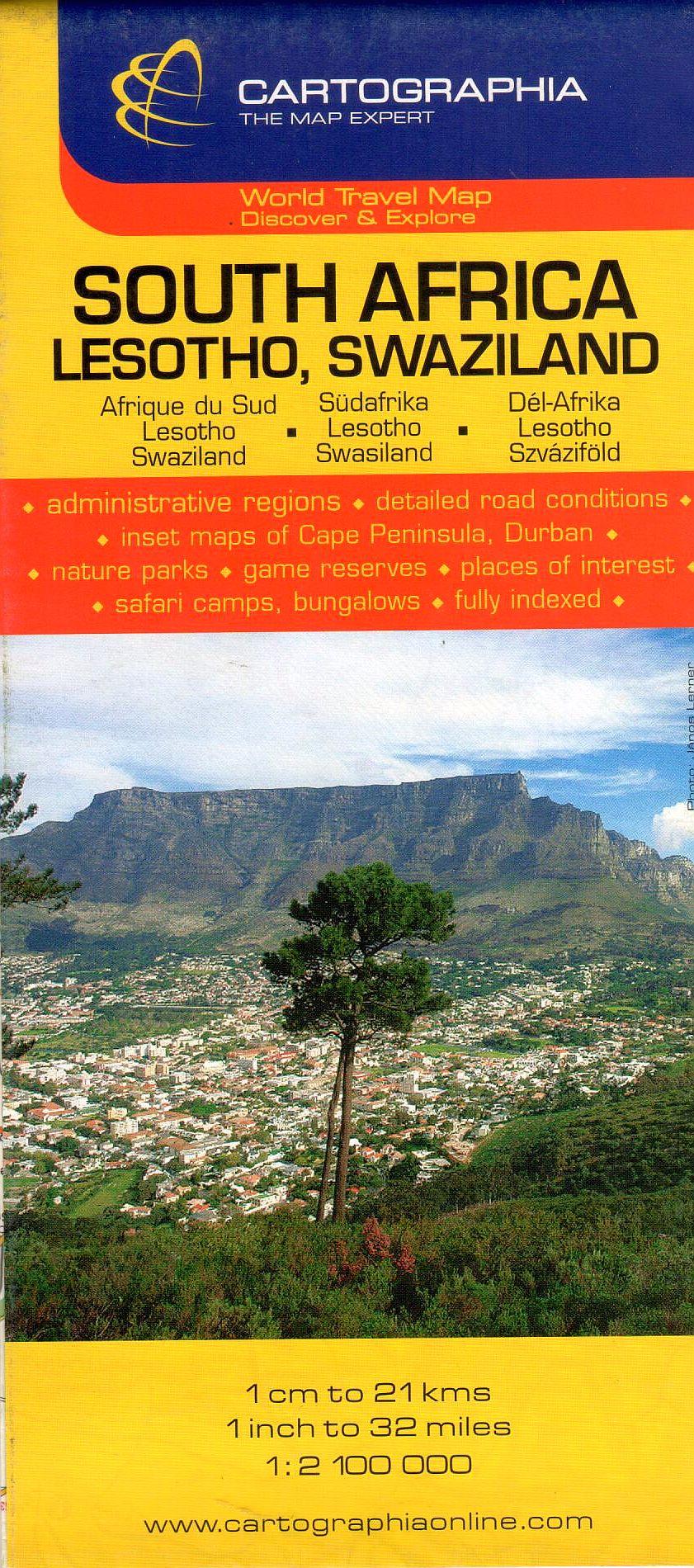 Dél-Afrika, Lesotho, Szváziföld általános földrajzi térképe autós és turista információkkal, névmutatóval, Fokváros és Durban melléktérképekkel