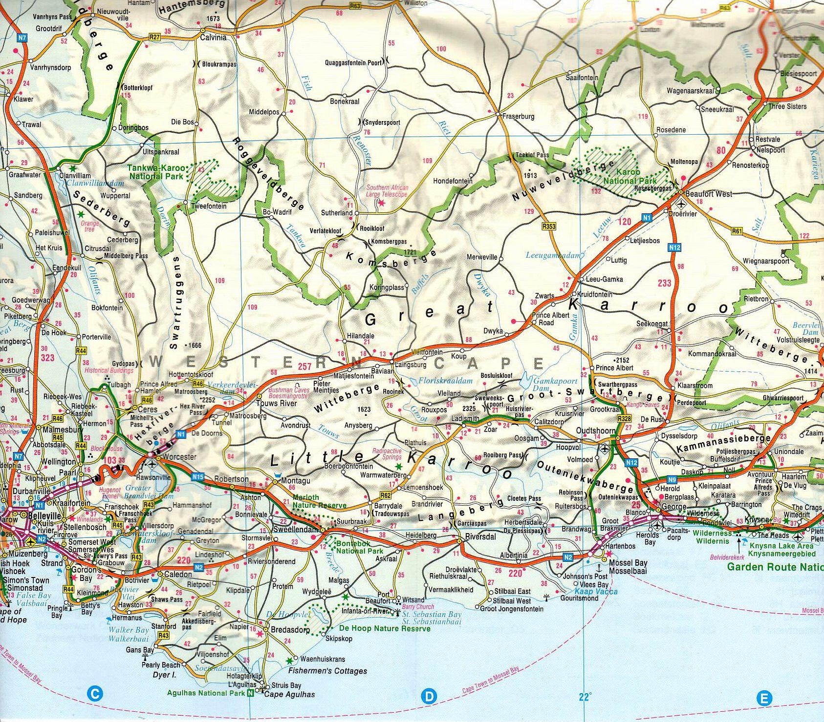 Dél-Afrika, Lesotho, Zsváziföld térkép mintakivágat