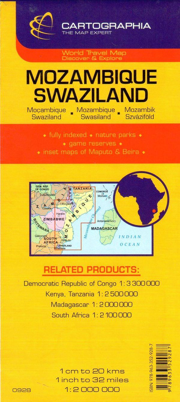 A Mozambik, Szváziföld térkép által lefedett terület