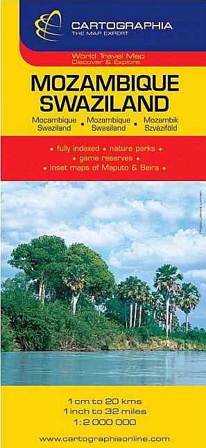 Mozambik, Szváziföld általános földrajzi térképe autós és turista információkkal, névmutatóval