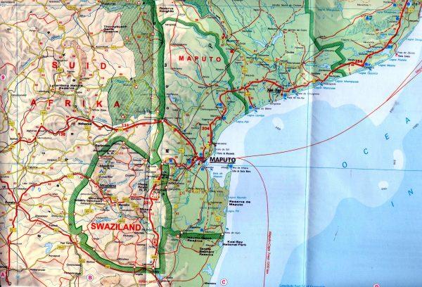 Mozambik, Szváziföld 1:2.000.000 mintakivágat