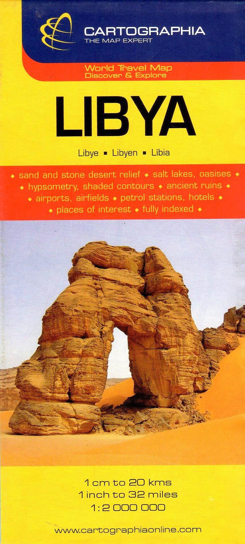 Líbia általános földrajzi térképe autós és turista információkkal, névmutatóval