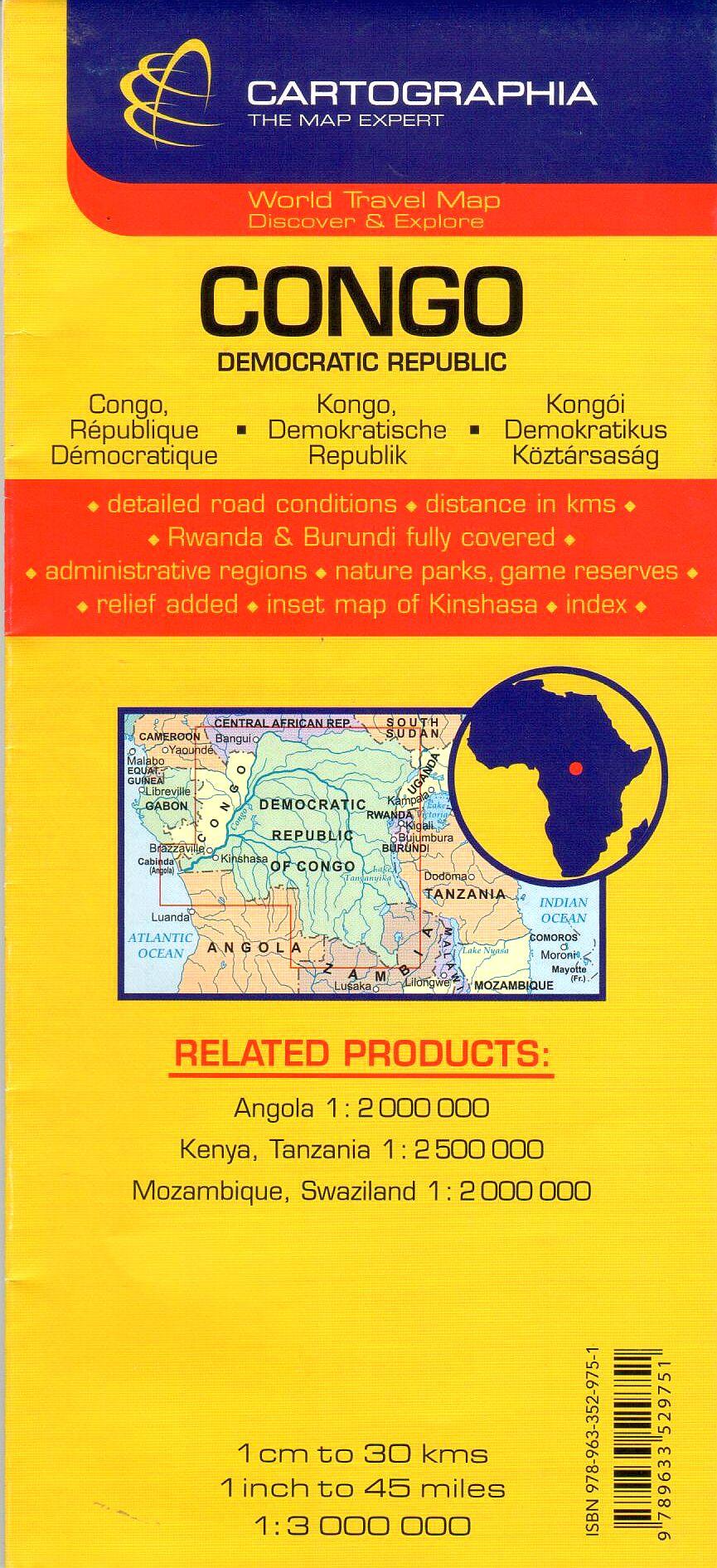 Kongó D.K. térkép által lefedett terület
