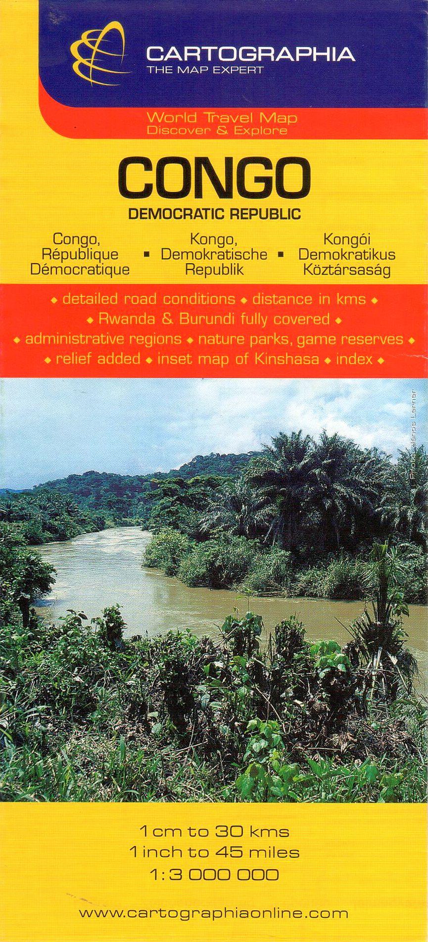 Kongói Demokratikus Közt., Ruanda és Burundi általános földrajzi térképe autós és turista információkkal, névmutatóval, Kinshasa melléktérképpel