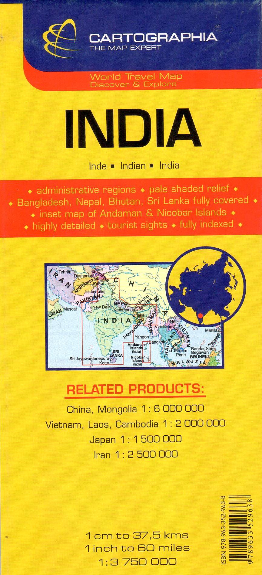 Az India térkép által lefedett terület
