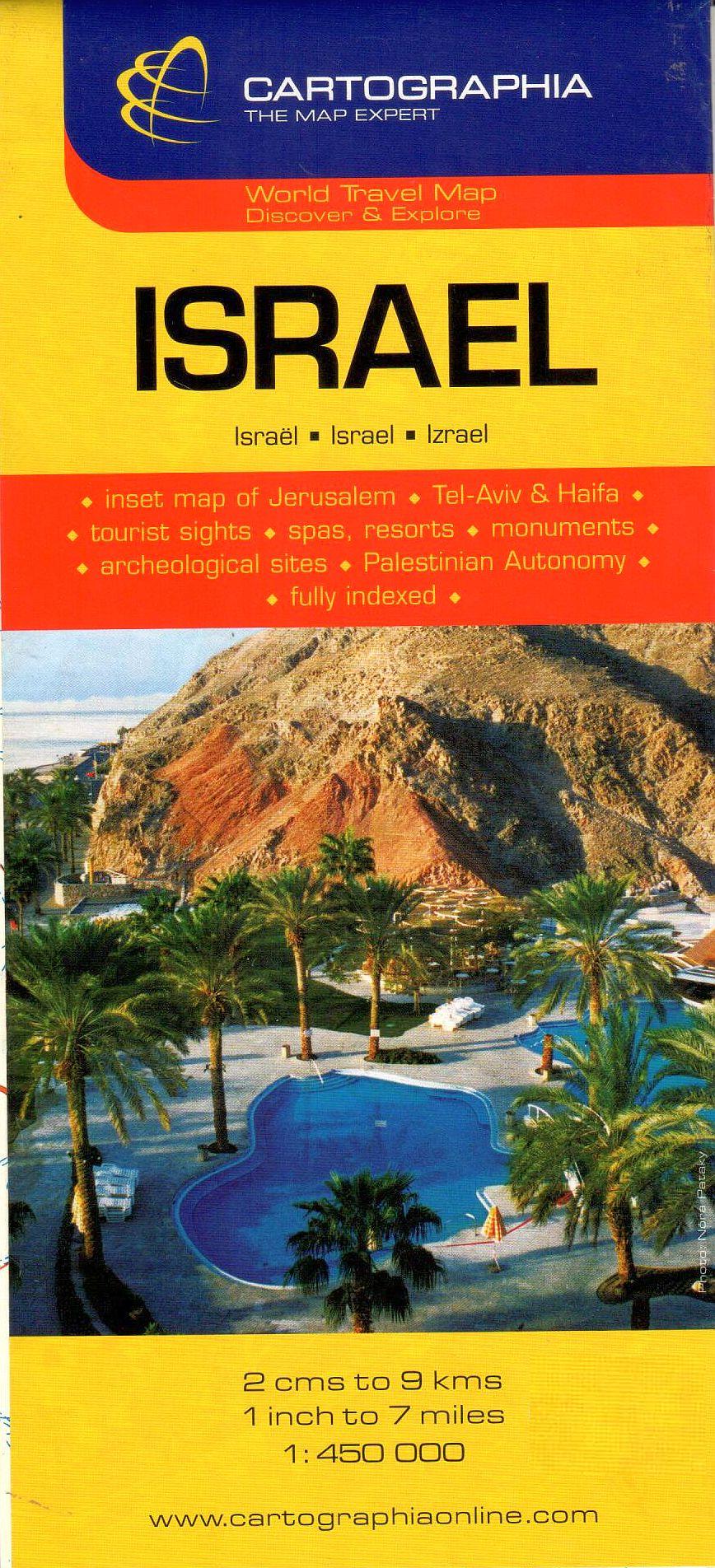 Izrael általános földrajzi térképe autós és turista információkkal, névmutatóval, Jeruzsálem, tel Aviv és Haifa melléktérképekkel