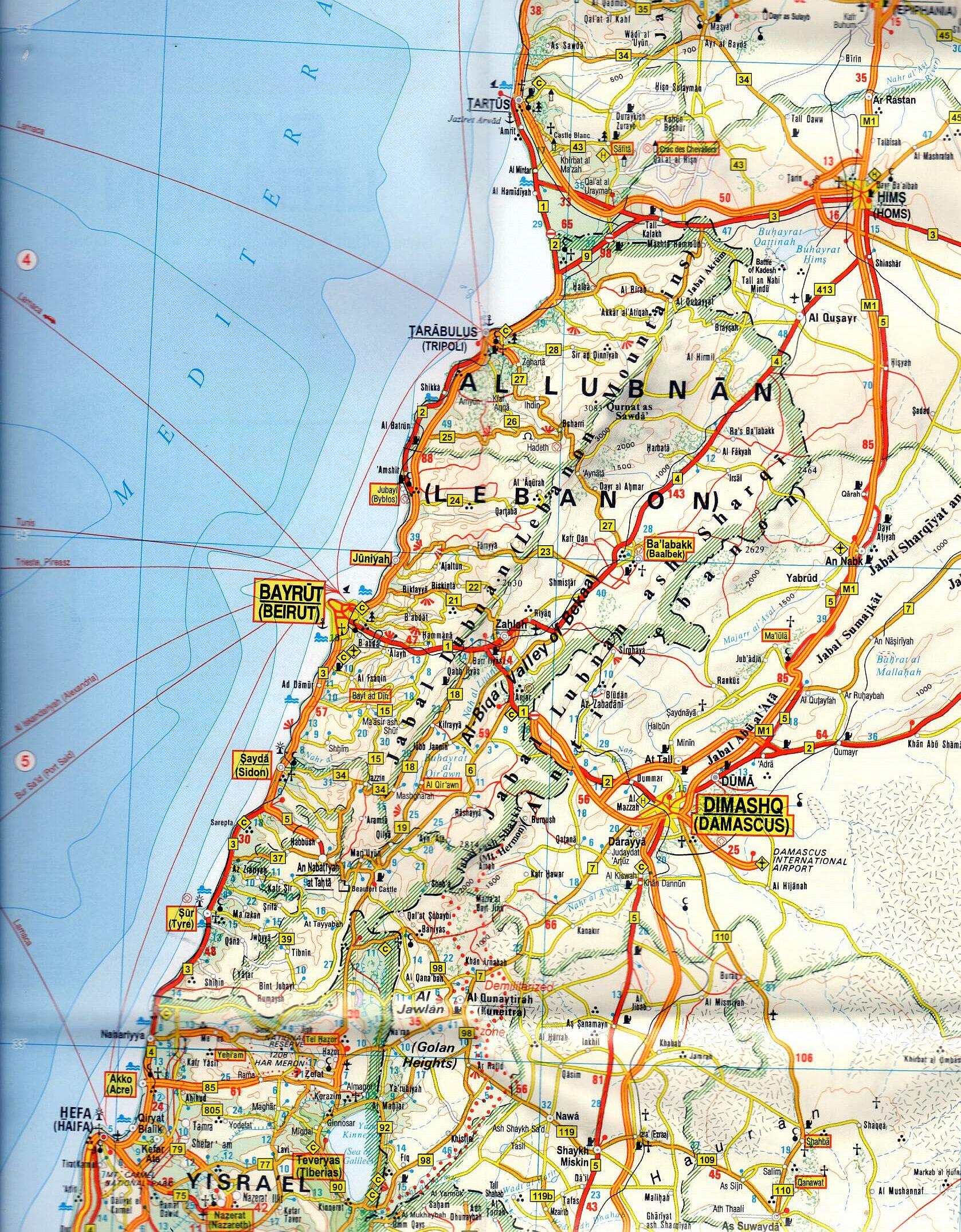Szíria, Libanon 1:1.000.000 mintakivágat