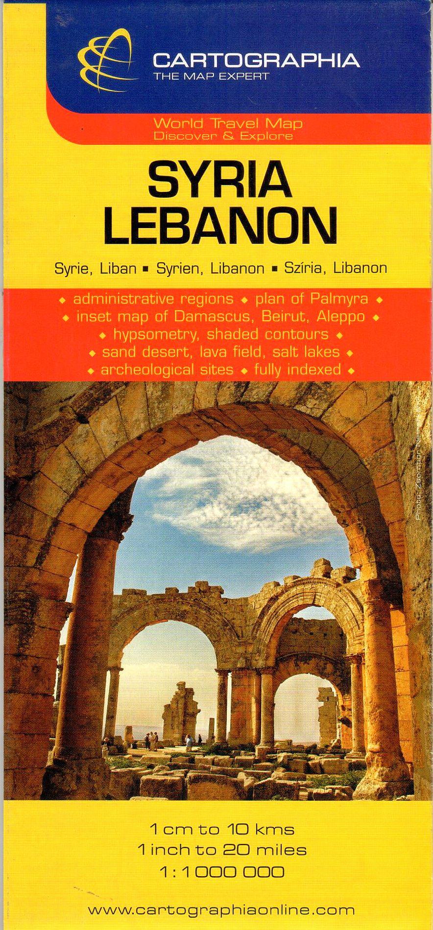 Szíria, Libanon általános földrajzi térképe autós és turista információkkal, névmutatóval, melléktérképekkel (Damaszkusz Bejrút, Aleppo, Palmyra).,