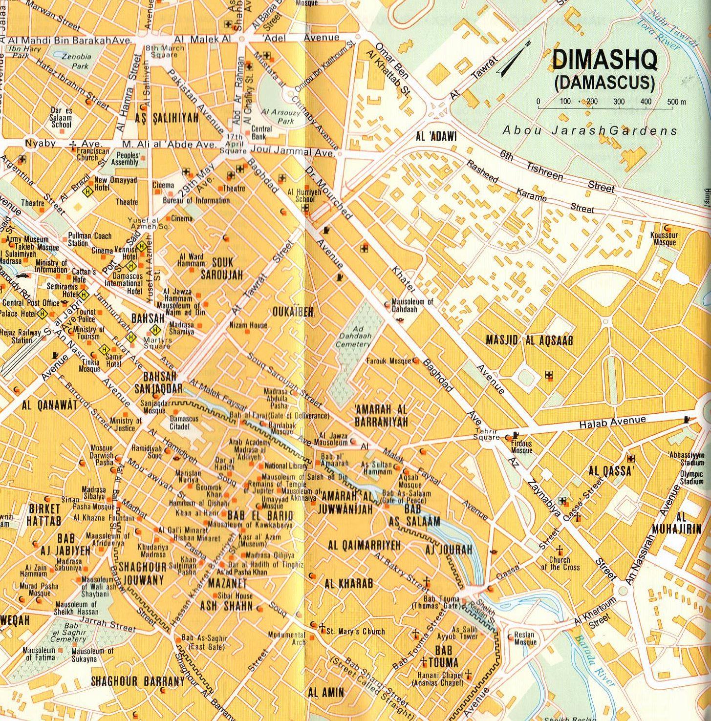 Damaszkusz várostérkép mintakivágat