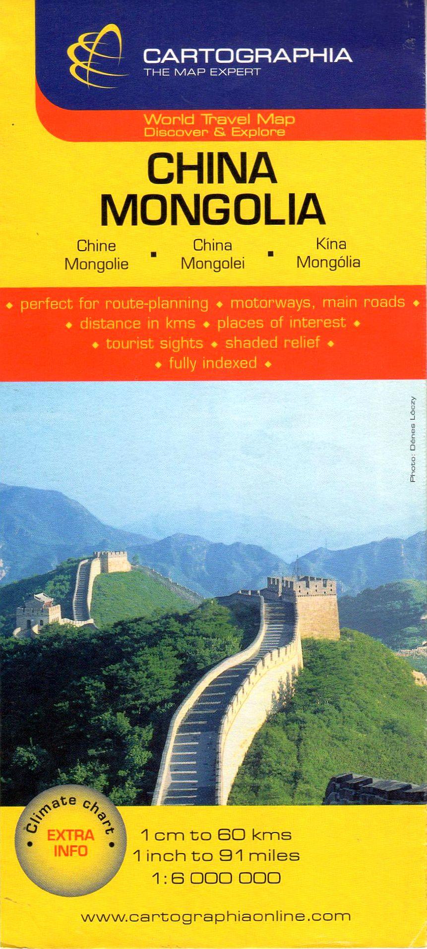 Kína, Mongólia útvonaltervező áttekintő térképe turista információkkal, névmutatóval