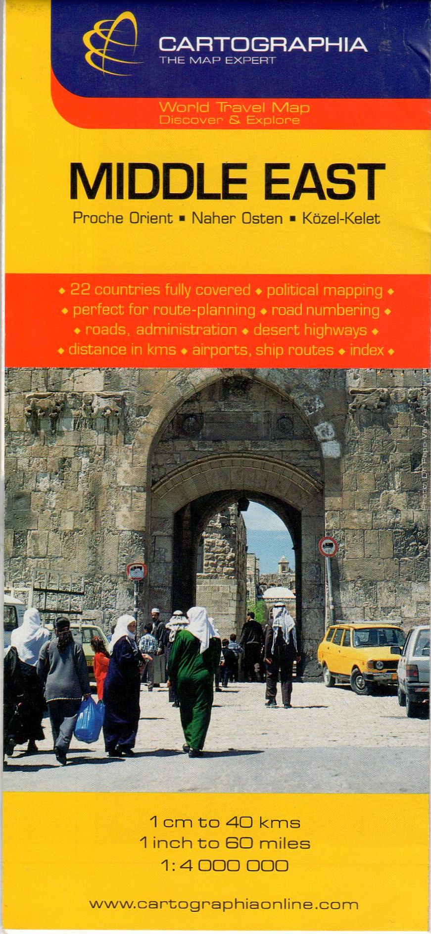 Közel-Kelet politikai színezésű útvonaltervező térkép turista információkkal