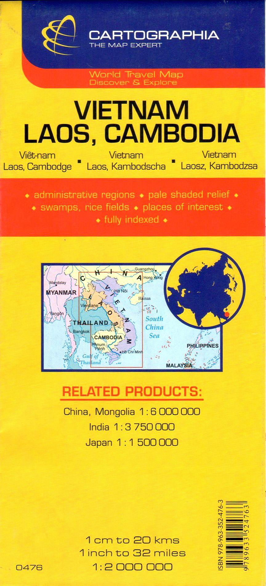 Vietnam, Kambodzsa, Laosz térkép által lefedett terület