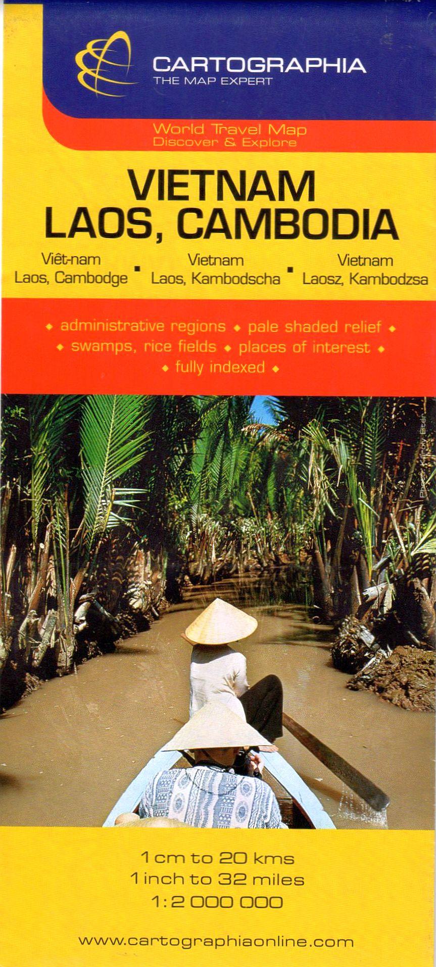 Vietnam, Laosz, Kambodzsa általános földrajzi térképe autós és turista információkkal, névmutatóval