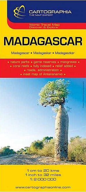 Madagaszkár általános földrajzi térképe autós és turista információkkal, névmutatóval, Antanarivo melléktérképpel