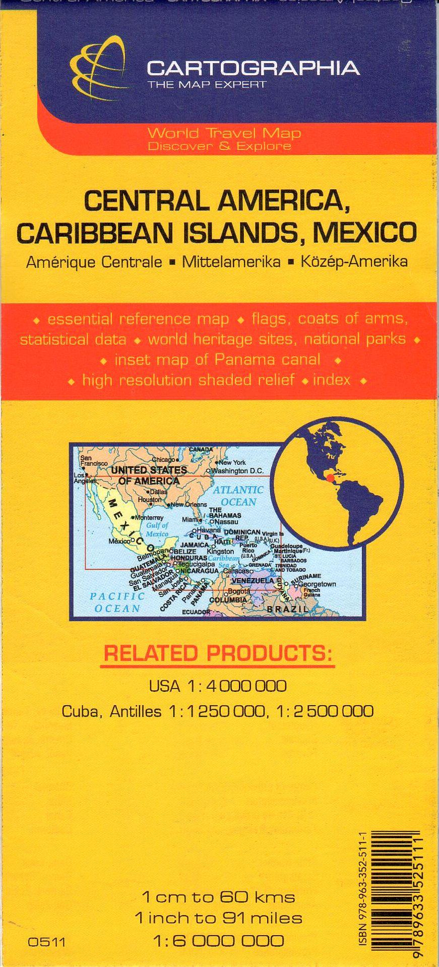 A Közép-Amerika, Karib-szigetek, Mexikó térkép által lefedett terület