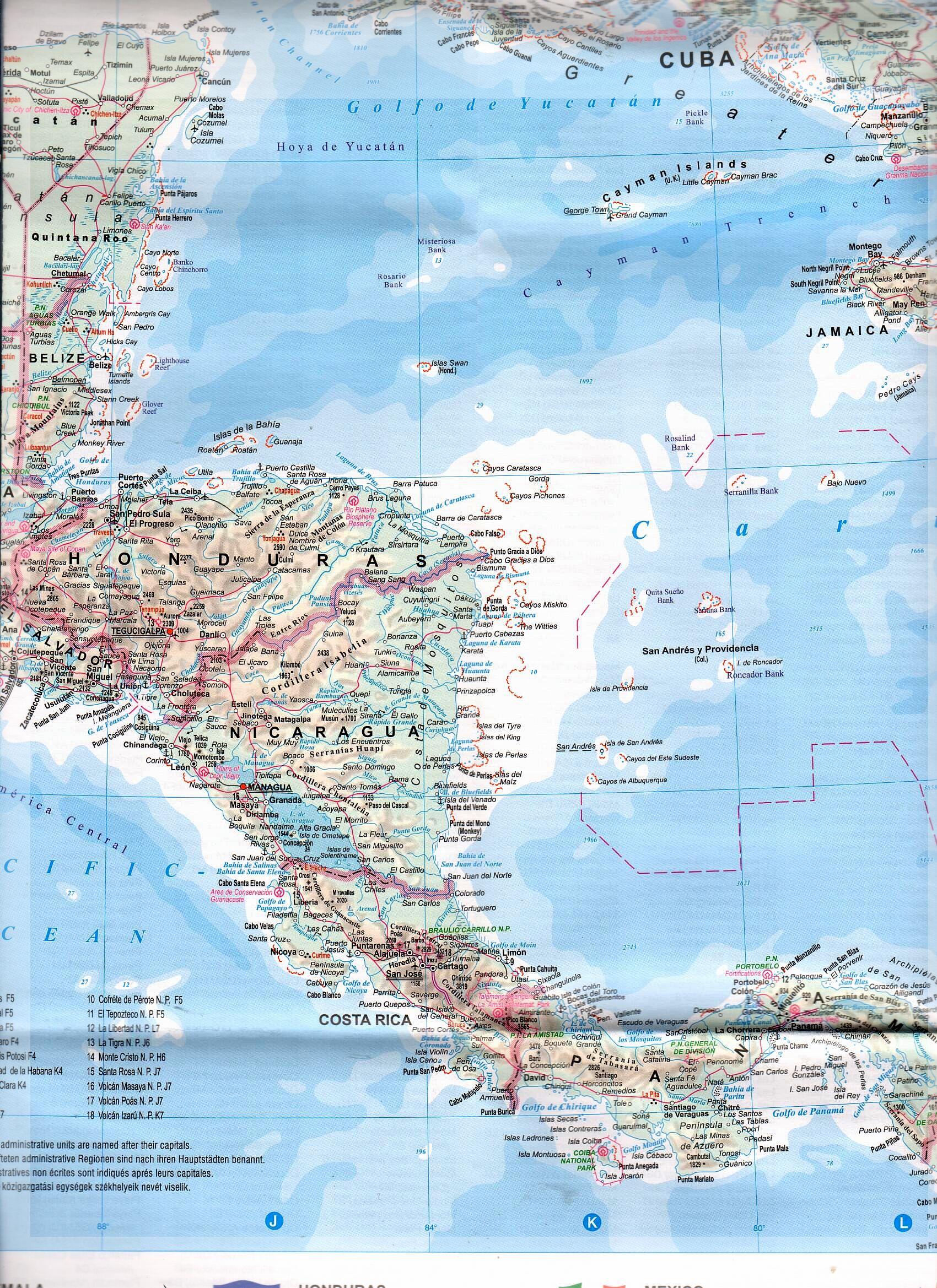 Közép-Amerika, Karib-szigetek, Mexikó térkép mintakivágata