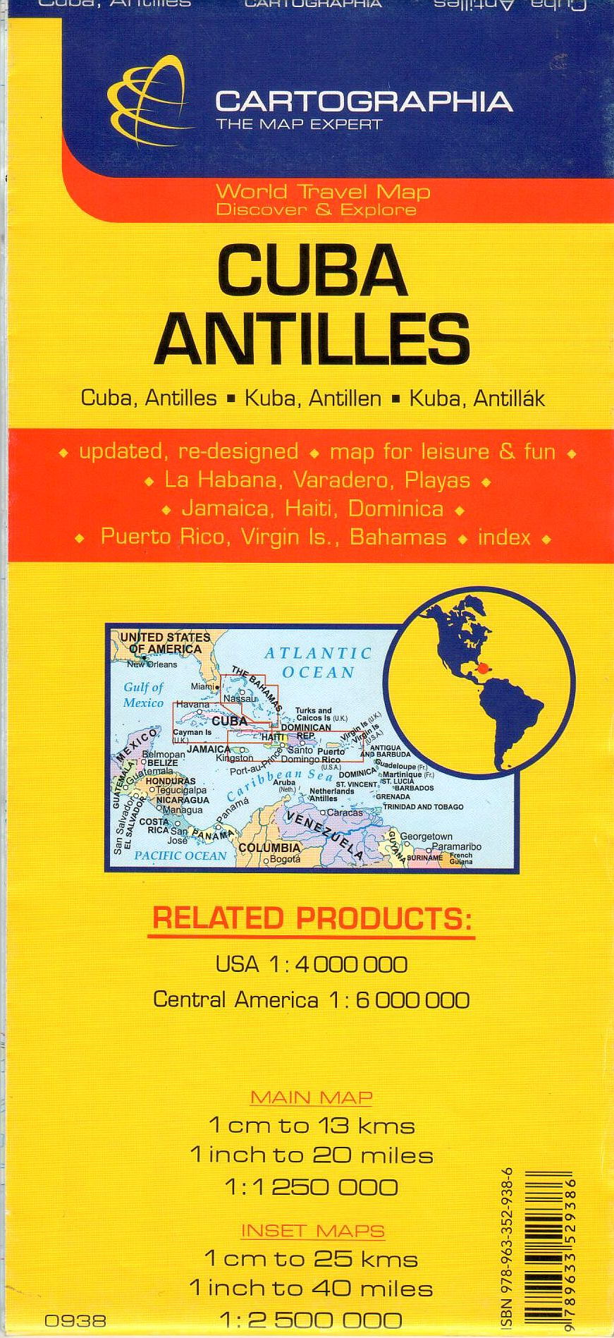 A Kuba és az Antillák térkép által lfedett terület