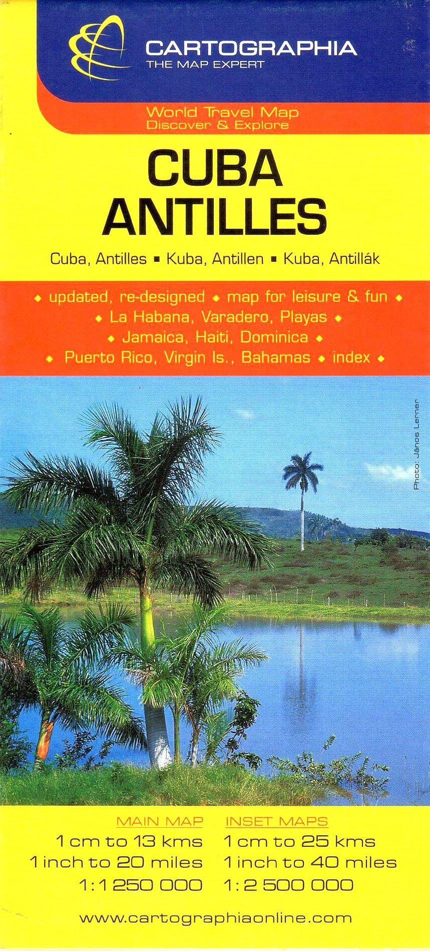 Kuba, Antillák általános földrajzi térképe autós és turista információkkal, névmutatóval. melléktérképek: Havanna, Varadero, Playas, jamaica, Haiti, Dominica, Puerto Rico, Bahamák, Virgin-szigetek.