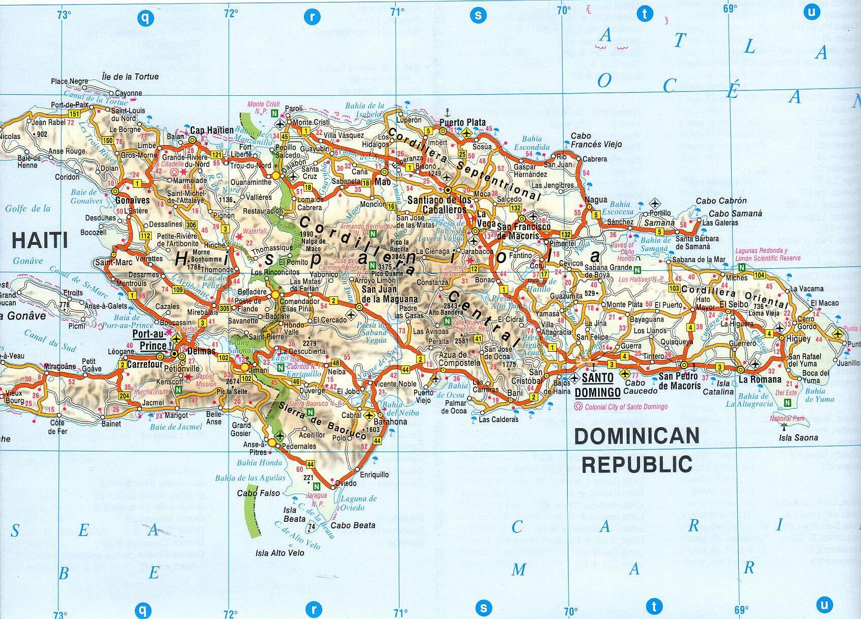 Hispaniola sziget 1:2.500.000 mintakivágat