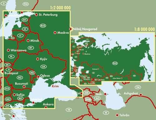 Az Oroszország térkép által lefedett területek